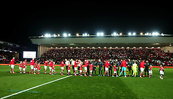 Bristol City and Manchester City shake hands before their Carabao Cup Semi Final second leg at Ashton Gate - Mandatory by-line: Robbie Stephenson/JMP - 23/01/2018 - FOOTBALL - Ashton Gate Stadium - Bristol, England - Bristol City v Manchester City - Carabao Cup Semi Final second leg
