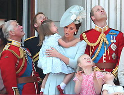 (Left to right) The Prince of Wales, Duke of Sussex, Duchess of Cambridge holding Princess Charlotte and Duke of Cambridge with Savannah Phillips and Prince George on the balcony of Buckingham Palace, in central London, following the Trooping the Colour ceremony at Horse Guards Parade, as Queen Elizabeth II celebrates her official birthday.
