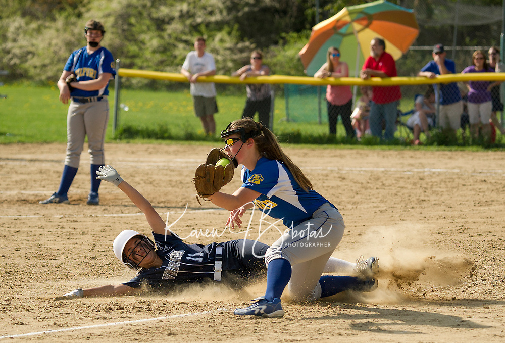 Gilford's Lexi Boisvert makes the out on White Mountain's 11/Dodier  during NHIAA Division III Softball Wednesday afternoon.  (Karen Bobotas/for the Laconia Daily Sun)