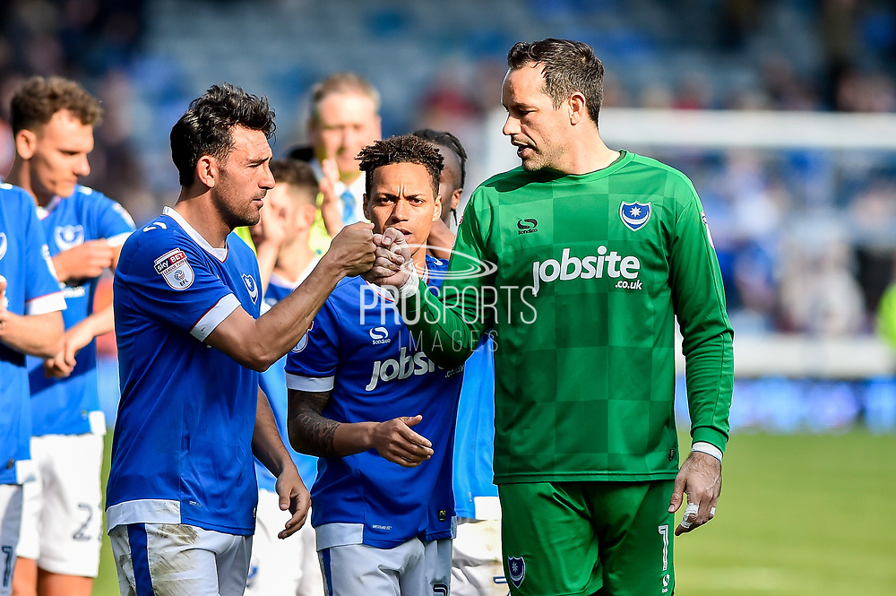 Portsmouth Goalkeeper, David Forde (1) and Portsmouth Midfielder, Gary Roberts (11) celebrate at full time during the EFL Sky Bet League 2 match between Portsmouth and Cambridge United at Fratton Park, Portsmouth, England on 22 April 2017. Photo by Adam Rivers.