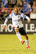 Montreal Impact forward Marco Di Vaio (9) dribbles the ball against the San Jose Earthquakes defense in the second half of the game at Buck Shaw Stadium in Santa Clara, California, on September 17, 2013.  The San Jose Earthquakes beat Montreal Impact 3-0. (Stan Olszewski/QMI Agency)