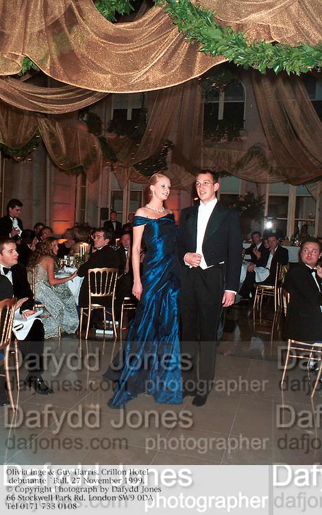 Olivia Inge & Guyarris. Crillon Hotel debutante `Ball. 27 November 1999. © Copyright Photograph by Dafydd Jones<br />66 Stockwell Park Rd. London SW9 0DA<br />Tel 0171 733 0108