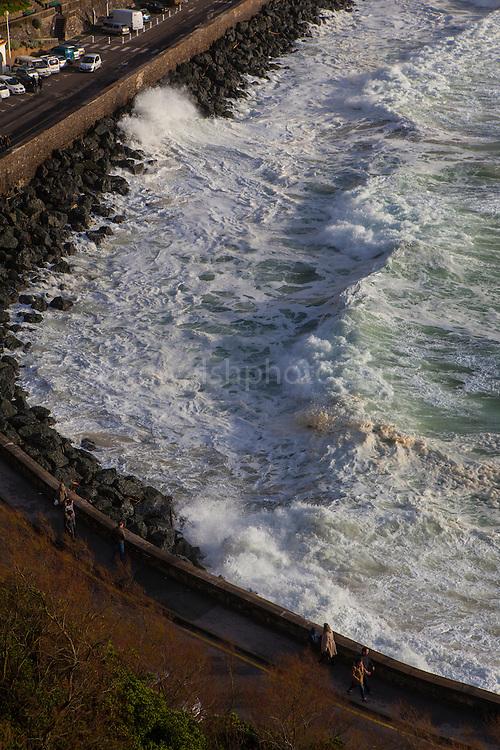 Atlantic waves lash Boulevard de Prince de Galles in the resort town of Biarritz, in the Basque region of France, March 2013