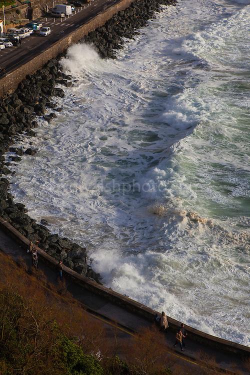 Atlantic waves lash Boulevard de Prince de Galles in the resort town of Biarritz, in the Basque region of France, March 2013