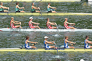 2004 FISA World Cup Regatta Lucerne Switzerland. 18.06.04..Photo Peter Spurrier.Heat LM 4-.Top IRL LM 4- Middle DEN LM4- bottom GBR LM4- Rowing Course, Lake Rottsee, Lucerne, SWITZERLAND. [Mandatory Credit: Peter Spurrier: Intersport Images]