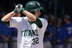 11 April 2015:  Matthew Mardis during an NCAA division 3 College Conference of Illinois and Wisconsin (CCIW) Pay in Baseball game during the Conference Championship series between the Millikin Big Blue and the Illinois Wesleyan Titans at Jack Horenberger Stadium, Bloomington IL