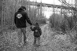 Tod Smarch and son at the Teslin River bridge
