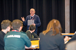 Pictured:  Stevie Sutherland, Community Inspector North West Edinburgh<br /> <br /> Police Scotland visited Craigroyston High Schoolto today to host motorcycle safety seminar at the secondary school. The event looked at motorbike/vehicle misuse and the consequences involved after 50 students from the school were identified as potentially being involved in such activities. One of the school's 14 year old pupils, Bradley Williams died recently in a motorcycle accident recently and some of his relatives were their to plead with the students to be aware of the dangers of going on bikes with out the appropriate training and licences.<br /> Ger Harley | EEm 27 April 2017