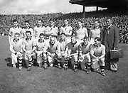 21/281-285..3081952AISFCSF.03.08.1952, 08.03.1952, 3rd August 1952...All Ireland Senior Football Championship - Semi-Final..Meath.1-6.Roscommon.0-7..Meath.Replay.K. Smyth, M. O'Brien, P. O'Brien, K. McConnell, T. O'Brien, C. Kelly, C. Hand, B. Maguire, D. Taaffe, D. Brennan, B. Smith, P. Meegan (Captain), M. McDonnell, J. Reilly, P. McDermott. Note: P. McGearty and P. Connell played in drawn game. T. O'Brien and D. Brennan came on for replay. .P. Meegan (Captain). ..Meath.Replay.K. Smyth, M. O'Brien, P. O'Brien, K. McConnell, T. O'Brien, C. Kelly, C. Hand, B. Maguire, D. Taaffe, D. Brennan, B. Smith, P. Meegan (Captain), M. McDonnell, J. Reilly, P. McDermott. Note: P. McGearty and P. Connell played in drawn game. T. O'Brien and D. Brennan came on for replay. .P. Meegan (Captain). .Football.
