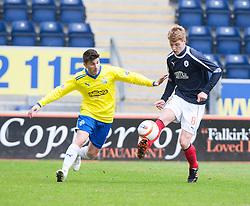 Morton's Kyle Wilkie and Falkirk's Jay Fulton..half time : Falkirk 0 v 1 Morton, 4/5/2013..© Michael Schofield..