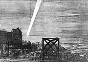 Comet of December 1680 (Kirch). From a pamphlet by Simon Bornmeister published Nuremberg 1681.  Newton calculated that it was travelling at 880,000 mph and that it went so near the Sun that at one time it was only 1/6 of the Sun's diameter from its surface. Copperplate engraving.