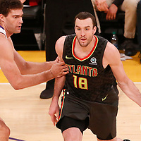 07 January 2018: Atlanta Hawks center Miles Plumlee (18) drives past Los Angeles Lakers center Brook Lopez (11) during the LA Lakers 132-113 victory over the Atlanta Hawks, at the Staples Center, Los Angeles, California, USA.