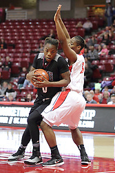 04 January 2015:  Octavia Crump defends the lane against Dyaba Pierre during an NCAA MVC (Missouri Valley Conference) women's basketball game between the Southern Illinois Salukis and the Illinois Sate Redbirds at Redbird Arena in Normal IL