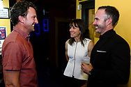 Tom Steel, Rebecca Rusch and Nicholas Schrunk chat at the screening of Blood Road at the Bluebird Theater in Denver, CO, USA on 27 June, 2017.