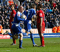 Photo: Steve Bond/Richard Lane Photography. <br />Leicester City v Colchester United. Coca Cola Championship. 12/04/2008. Leicester scorer Iain Hume heads back to the centre circle urgently