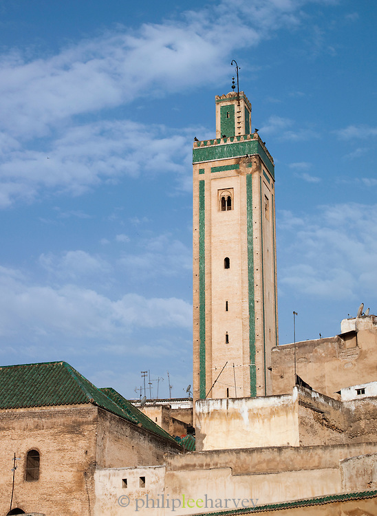 The minaret of the Kairaouine Mosque in Fes, Morocco