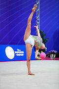 Tikkanen Jouki during the qualification at the ball of the Pesaro World Cup 2018. Jouki was born on 5 July 1995 and is a Finnish individual rhythmic gymnast