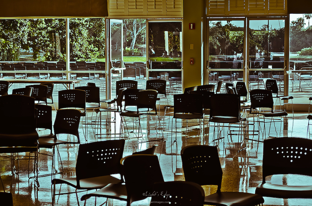 Chairs, askew in Fox Hall, somehow convey the emptiness that begins to set in on Eckerd's campus a day before graduation.