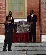 7/25/2020 Selma Alabama On the anniversary of President Lyndon Johnson signing the Voting Rights Act, Congressman John Lewis's casket is pulled by a horse drawn carriage and lead by the Honor Guard across the Edmund Pettus Bridge in Selma for the L=last time. The casket is headed to the State Capitol where he will lay in state. rMourners lined up to pay their last respects at the Historic Brown A.M.E. Chapel Church after a private ceremony their was a public viewing with an open casket for the last time.  Congressman and Civil Rights icon John Lewis's casket is seen being carried out of historic  Brown Chapel A.M.E. Church at the end of the last public viewing with the casket open before he is brought across the Edmund Pettus Bridge for the last time on his way to lay in state at the Alabama. State Capitol on Sunday.. Photo© Suzi Altman