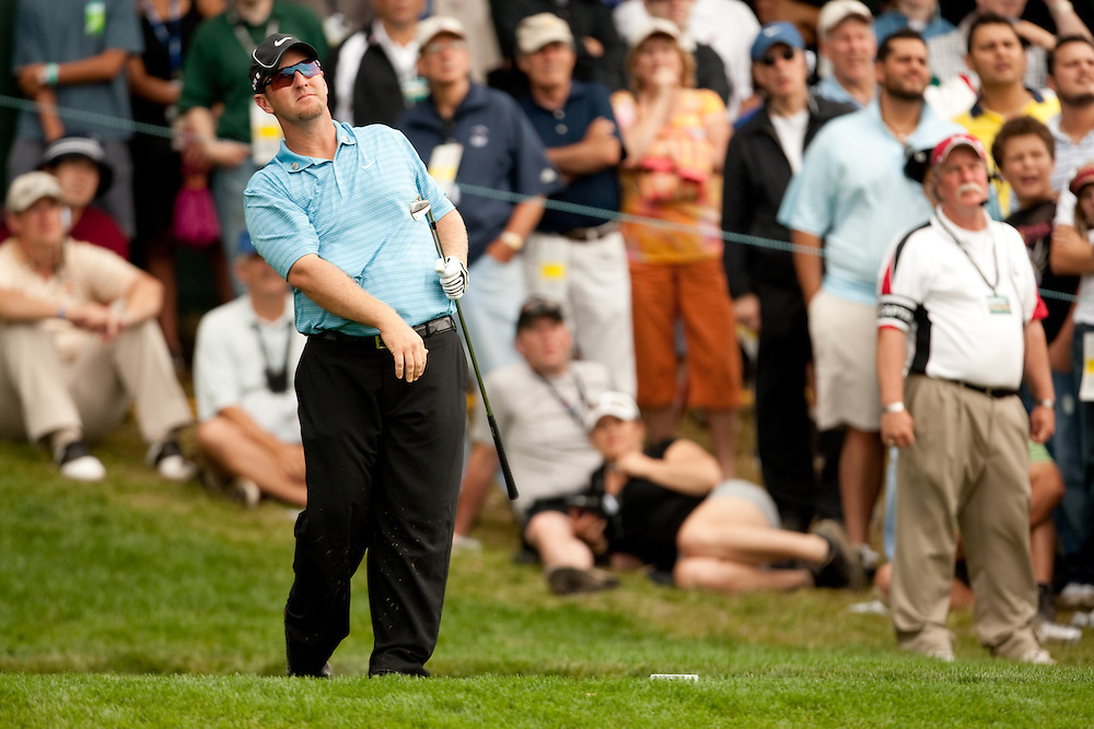 FARMINGDALE, NY - JUNE 19:  David Duval reacts to his shot in front of the gallery during the continuation of the third round of the 109th U.S. Open Championship on the Black Course at Bethpage State Park on Sunday, June 21, 2009. (Photograph by Darren Carroll) *** Local Caption *** David Duval