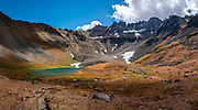 Gilpin Peak rises above Upper Blue Lake, Mt Sneffels Wilderness, Uncompahgre National Forest, San Juan Mountains, Ridgway, Colorado, USA. This image was stitched from multiple overlapping photos.
