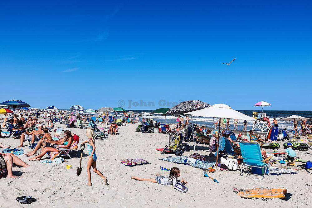 Busy beach, Stone Harbor, New Jersey, USA