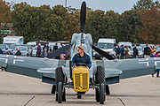 A Hispano Buchon in Luftwaffe colours is towed out - The Duxford Battle of Britain Air Show is a finale to the centenary of the Royal Air Force (RAF) with a celebration of 100 years of RAF history and a vision of its innovative future capability.