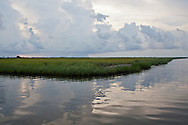 Marsh between Isle de Jean Charles and Pointe-Aux-Chien in Terribone Parish Louisiana. The Island is under constant threat of flooding due to coastal erosion.