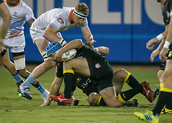 January 11, 2019 - Sugar Land, TX, U.S. - SUGAR LAND, TX - JANUARY 11:  Austin Elite lock Ben Mitchell (4) reaches to tackle Houston SaberCats hooker Pat O'Toole (2) during the pre-season exhibition rugby match between the Austin Elite and Houston SaberCats on January 11, 2019 at Constellation Field in Sugar Land, Texas.  (Photo by Leslie Plaza Johnson/Icon Sportswire) (Credit Image: © Leslie Plaza Johnson/Icon SMI via ZUMA Press)