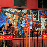 Asia, India, Calcutta. Mural of Calcutta.