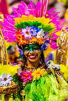 Mangueira do Amanha (Mangueira of Tomorrow) samba school performs in the children's Carnaval Parade, Sambadrome, Rio de Janeiro, Brazil.