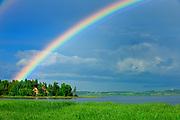 Rainbow after storm<br />Saint-Gédéon<br />Quebec<br />Canada