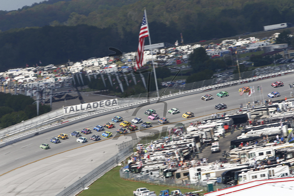 October 15, 2017 - Talladega, Alabama, USA: The Monster Energy NASCAR Cup Series teams battle for position in the turns during the Alabama 500 at Talladega Superspeedway in Talladega, Alabama.
