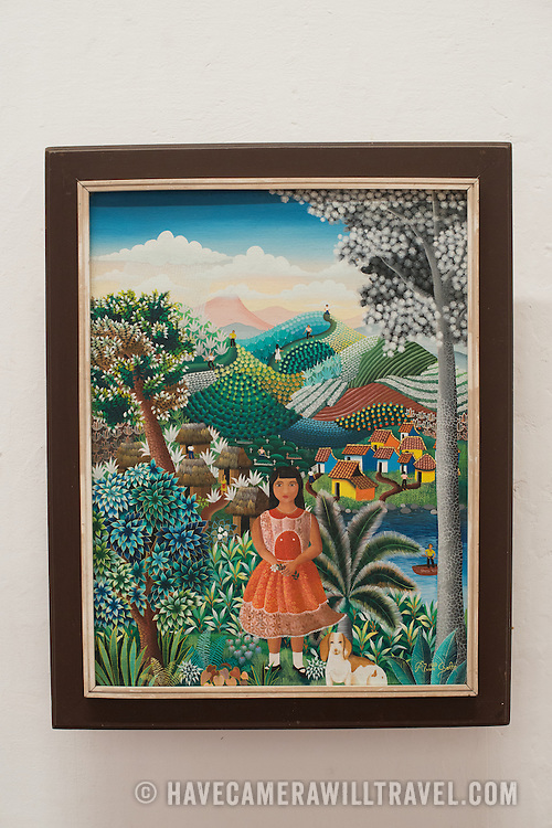 The painting is titled La Nina, 1987, and was painted by Alvaro Gaitan. The The Centro Cultural Convento San Francisco, located just a couple of blocks from Parque Central in Granada, is dedicated to the history of the region.