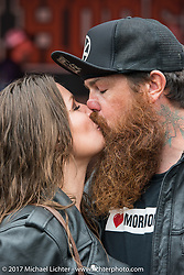 Abe and Julie Mueller had a great time at the David Allen Coe concert despite the rain at the Iron Horse Saloon in Omond Beach during Daytona Beach Bike Week. FL. USA. Sunday March 12, 2017. Photography ©2017 Michael Lichter.