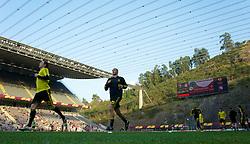 BRAGA, PORTUGAL, Thursday, March 10, 2011: Liverpool's Andy Carroll warms-up before the UEFA Europa League Round of 16 1st leg match against Sporting Clube de Braga at the Estadio Municipal de Braga. (Photo by David Rawcliffe/Propaganda)