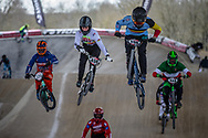 #459 (DUPAS Jean) FRA and #156 (VERHOEVEN Mathijs) BEL at Round 2 of the 2018 UCI BMX Superscross World Cup in Saint-Quentin-En-Yvelines, France.