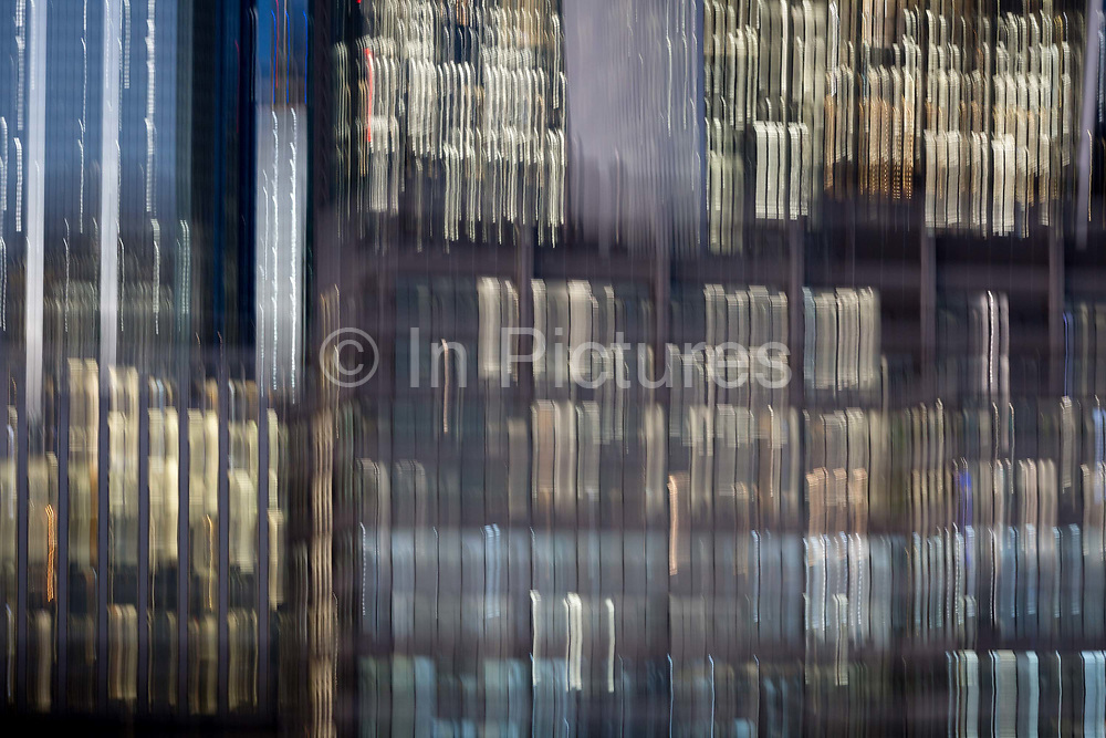 Deliberate blur on generic office buildings in the City of London - the capitals financial district aka The Square Mile, on 2nd November 2018, in London, England.