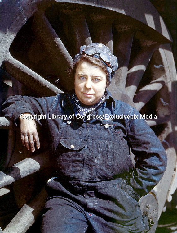 """Fascinating Color Portrait Photos of Women Railroad Workers During WWII<br /> <br /> World War II began when Hitler's army invaded Poland on September 1, 1939. However, it wasn't until the day after the Japanese attacked Pearl Harbor on December 7, 1941, that the United States declared war on the Axis Powers.<br /> <br /> The railroads immediately were called upon to transport troops and equipment heading overseas. Soon the efforts increased to supporting war efforts on two fronts-- in Europe and in the Pacific.<br /> <br /> Prior to the 1940s, the few women employed by the railroads were either advertising models, or were responsible primarily for cleaning and clerical work. Thanks to the war, the number of female railroad employees rose rapidly. By 1945, some 116,000 women were working on railroads. A report that appeared on the 1943 pages of Click Magazine regarding the large number of American women who had stepped forward to see to it that the American railroads continued to deliver the goods during the Second World War:<br /> <br />     """"Nearly 100,000 women, from messengers aged 16 to seasoned railroaders of 55 to 65, are keeping America's wartime trains rolling. So well do they handle their jobs that the railroad companies, once opposed to hiring any women, are adding others as fast as they can get them...""""<br /> <br /> In April 1943, Office of War Information photographer Jack Delano photographed the women of the Chicago & North Western Railroad roundhouse in Clinton, Iowa, as they kept the hulking engines cleaned, lubricated and ready to support the war effort.<br /> <br /> Photo shows: Mrs. Dorothy Lucke, a roundhouse wiper.<br /> ©Library of Congress/Exclusivepix Media"""