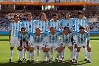 28/08/04 - ATHENS - GREECE -  - OLYMPIC FOOTBALL - FINAL MATCH - MENS  -  At the Olympic Stadium in Athens<br />ARGETNINA (1) win over PARAGUAY (0).<br />Argentine statrting team - N*8 DELGADO Cesar - N*6 HEINZA GABRIEL - N*4 COLOCCINI fabricio - N*2 AYALA Roberto - N*18 LUX German - N*16 GONZALEZ Lucho Luis - N*10 TEVEZ CARLOS - N*15 D'ALESSANDRO Andres - N*11 GONZALEZ Cristian Killy - N*12 ROSALES Mauro - N*5 MASCHERANO Javier.<br />© Gabriel Piko / Argenpress.com / Piko-Press