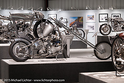 """Dan """"Bacon"""" Carr's custom 1946 Harley-Davidson Knucklehead in Michael Lichter's Motorcycles as Art annual exhibition titled """"The Naked Truth"""" at the Buffalo Chip Gallery during the 75th Annual Sturgis Black Hills Motorcycle Rally.  SD, USA.  August 4, 2015.  Photography ©2015 Michael Lichter."""