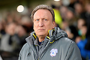Cardiff City manager Neil Warnock during the EFL Sky Bet Championship match between Derby County and Cardiff City at the Pride Park, Derby, England on 14 February 2017. Photo by Jon Hobley.