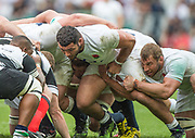 Twickenham, Surrey, United Kingdom.  [L] Ellis GENGE and Chris ROBSHAW, pack down for the scrumage, during the, Old Mutual Wealth Cup, England vs Barbarian's match, played at the  RFU. Twickenham Stadium, on Sunday   28/05/2017England    <br /> <br /> [Mandatory Credit Peter SPURRIER/Intersport Images]