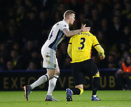 Watford's Miguel Britos tussles with WBA's James McLean off the ball during the Premier League match at Vicarage Road Stadium, London. Picture date: April 4th, 2017. Pic credit should read: David Klein/Sportimage