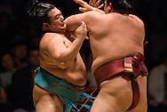 Toyonoshima (left) and Kisenosato compete in the fourth round of Day 2 of Grand Sumo Tournament Los Angeles 2008, Los Angeles Sports Arena, Los Angeles, California