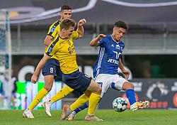 Mikkel M. Pedersen (Hobro IK) og Patrick da Silva (Lyngby Boldklub) under kampen i 3F Superligaen mellem Lyngby Boldklub og Hobro IK den 20. juli 2020 på Lyngby Stadion (Foto: Claus Birch).