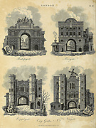 London city gates Architecture in the City of London Copperplate engraving From the Encyclopaedia Londinensis or, Universal dictionary of arts, sciences, and literature; Volume XIII;  Edited by Wilkes, John. Published in London in 1815