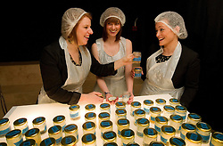 © under license to London News Pictures.  25/10/10.(L to R) Nicola Hamilton, Sarah Barns and Philippa London choose some of the  flavours available at the Artisanal Chewing Gum Factory inside Whiteleys Shoping Centre, London. .Visitors can choose and combine 40,000 flavours to create their own personal chewing gum in the newly opened micro-factory..