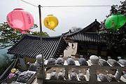 Dadohae Marine National Park. Dolsan-do. Hyang-ram (Hyang-il-am) buddhist hermitage. Lampions for Buddha's Birthday.