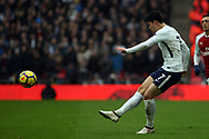 Son Heung-min of Tottenham Hotspur crosses into the penalty area. Premier league match, Tottenham Hotspur v Arsenal at Wembley Stadium in London on Saturday 10th February 2018.<br /> pic by Steffan Bowen, Andrew Orchard sports photography.